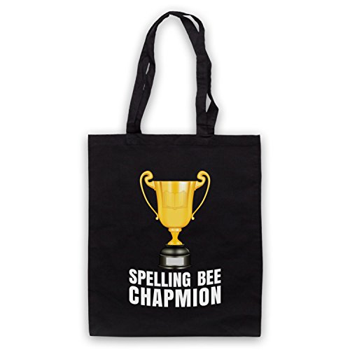 My Icon Art & Clothing Spelling Bee Chapmion Funny Bad Spelling Champion Parody Bolso Negro