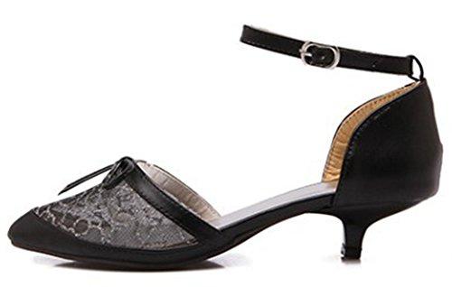 Idifu Femmes Doux Noeuds Mi Chaton Talons Cheville Sangle Dentelle Chaussures Chaussures Noir
