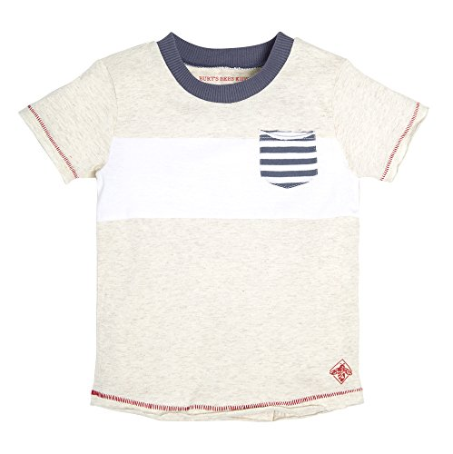 Burt's Bees Baby Baby Boy's T-Shirt, Short Sleeve V-Neck and Crewneck Tees, 100% Organic Cotton, Prairie Heather Contrast Pockets 6 Years