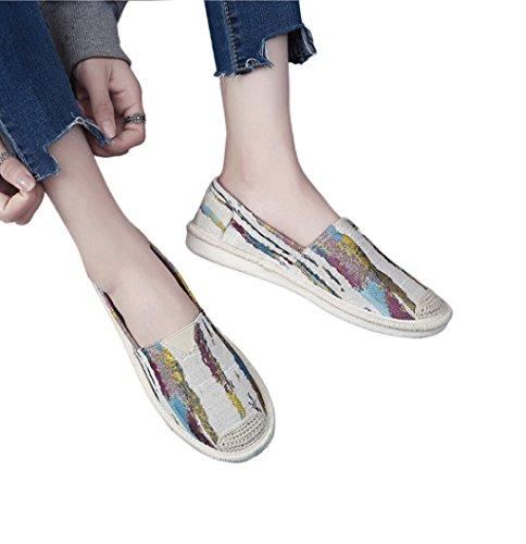 Ein Pedal faul Schuhe Dame atmungsaktive Segeltuchschuhe beiläufige weiße Brettschuh-Kursteilnehmerart und weise flache Schuhe ( Farbe : Blau , größe : 36 ) Beige