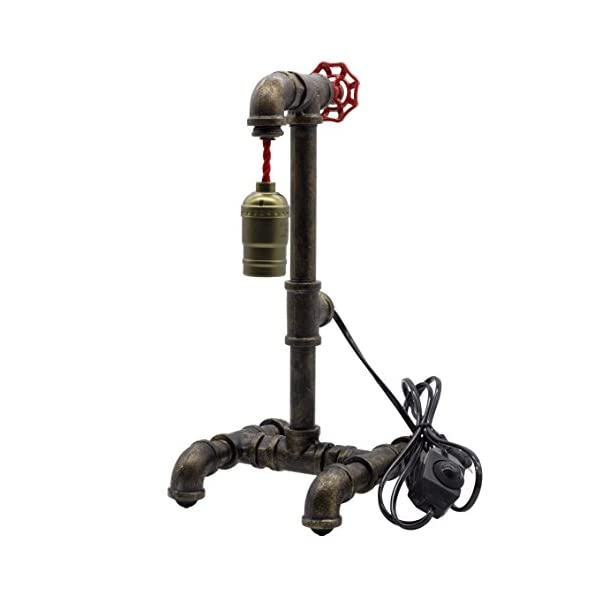 "Loft Style Lamp with Dimmer, Dimmable Steampunk Industrial Vintage Antique Style Light, Iron Piping Aged Rustic Metal Desk Lamp, Y-Nut ""Fisherman"" (Black) QTF-TB01-BLK 5"