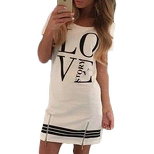 Vestito M Bianco Stampa Donna Abito Stampata Casual O Love Corto Da r Toogoo Orecchino Maniche collo Story A Corte 1wqAxn5UWT