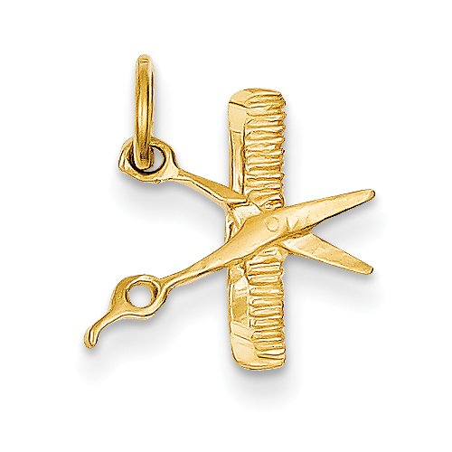 14k Yellow Gold Comb & Scissors Charm ()