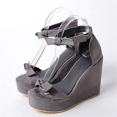 LvYuan Mujer-Tacón Cuña-Otro Zapatos del club Confort Innovador-Sandalias-Boda Fiesta y Noche Vestido-Vellón Materiales Personalizados-Negro gray