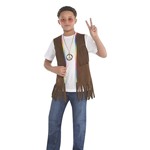 Girls Hippie Girl Costumes (Amscan Groovy 60's Long Hippie Vest (1 Piece), 14.5
