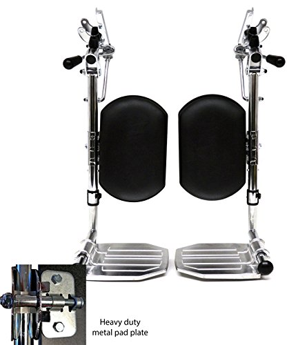 Heavy Duty Chrome Wheelchair Legrests with Aluminum Footplates & Black Calf Pads (Pair), 1-3/8