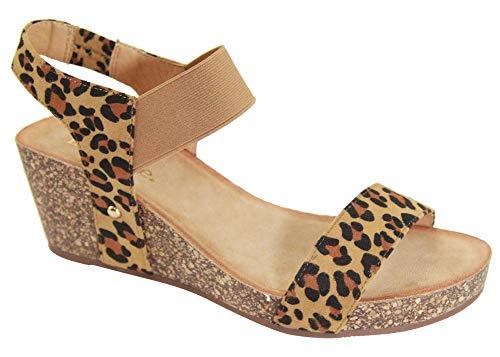 Bella Marie Norie Women Platform Wedge Low Heel Elastic Strap Band Slingback Sandal Leopard 7.5