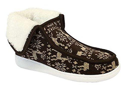 Heavy Faux Brown Duty 3028 Slipper Outdoor 3028 Fur Indoor Shoe Women Moccasin Boot Knitting Rubber B8qfB6wY
