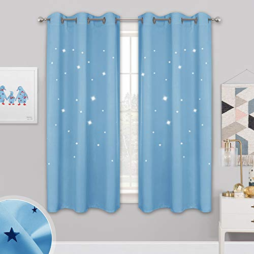 Infant Curtain - NICETOWN Star Patterned Blackout Curtains - Baby Blue Starry Night Curtains for Kids Room, Nursery Essential Blackout Thick and Soft Window Coverings with Star Die-Out, 42 x 63 Inches, 2 Panels