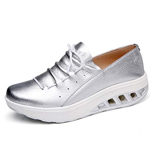 Slip Couture Mèche Chaussures Dames Creepers Casual Sneakers forme Plate Plateformes Lacets Non Femmes Automne Cuir À Split A710w8