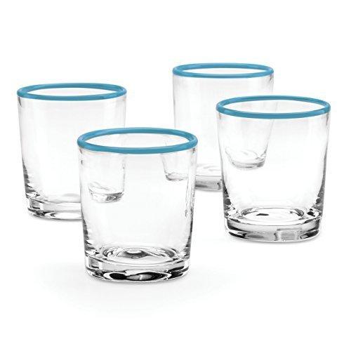 The Burbs Blue Rim 4-piece DOF Glass Set by Dansk by Dansk