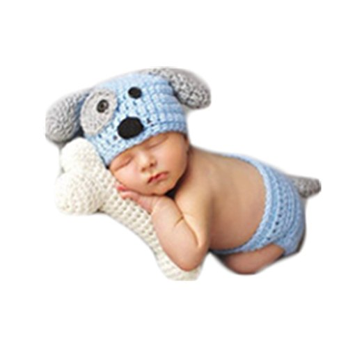 Handmade Cute Dog Costumes (Baby Newborn Photography Props Cute Dog Handmade Crochet Knitted Unisex Baby Cap Outfit (Style)