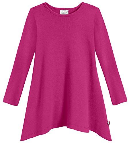 City Threads Girls Shark Bite Long Sleeve Tunic Top Blouse Shirt Stylish Modern All Cotton for Sensitive Skins SPD Sensory Friendly, Hot Pink, 4T ()