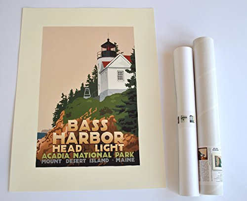 Bass Harbor Head Light, Maine Print (18x24 Lighthouse Travel Poster, Wall Decor Art)