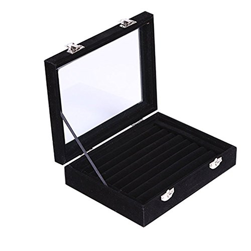 Meshela Neu Damen-Schmuckkasten Schmuck Box Schmuck Organizer Display Aufbewahrungsbox für Ringe Ohrringe Halskette (Schwarz)