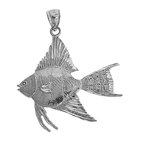 Angel Fish Necklace - Rhodium-plated 925 Silver 42mm Tropical Angelfish Pendant Necklace