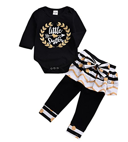 (Baby Girls Kids 2Pcs Long Sleeve Flamingo Clothes Pants Gifts Outfits Set (Black-Little Sister, 6-12 Months))