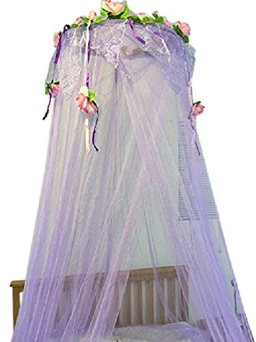 OctoRose Flower Top Around Bed Canopy Mosquito Net for Bed, Dressing Room, Out Door Events (Purple) from OctoRose