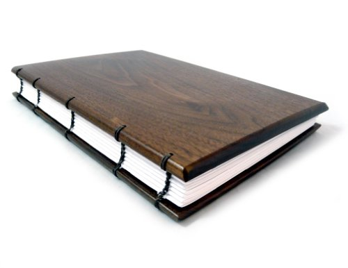 "American Made Hardwood Keepsake Journal, Visitor Register, or Guestbook with Coptic Binding, 6""x 9"", Lined Pages, Natural Walnut Wood Version"