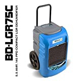 BlueDri LGR75C BD-BD-75C-BL Commercial Industrial Grade 75 Pint Dehumidifiers for Basements at Homes and Job Sites, Blue