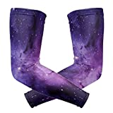 Arm Sleeves Outer Space Purple Mens Sun UV Protection Sleeves Arm Warmers Cool Long Set Covers
