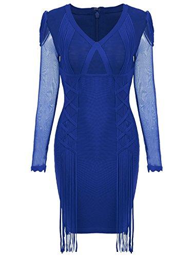Azul Mujer K Vestidos Ajustado Manga Fiesta Larga Vestido Coctel Extra Bar Corto Talla Para xx6qO1BpwI