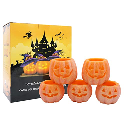 DRomance Jack O' Lantern Lights, Pumpkin Real Wax Novelty Lighting with 6H Timer - Battery Operated LED Candles for Holiday Decoration Set of 5