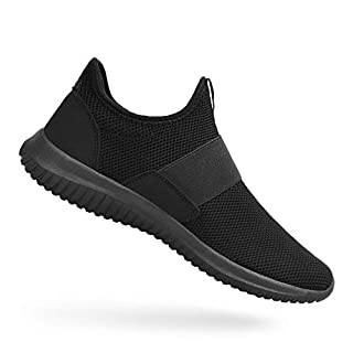 Feetmat Mens Workout Shoes Slip On Laceless Tennis Running Sneakers Non Slip Gym Walking Shoes Black 10.5