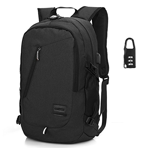 CoolBELL 15.6 Inch Laptop Backpack With USB Charging Port/Water-resistant Knapsack With Coded Lock/Travel Rucksack For Macbook/ASUS/Lenovo//Dell/Men/Women (New Black) by CoolBELL
