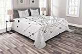 Lunarable Abstract Bedspread Set Queen Size, Technology Geek Inspired Modern Disc Cable Like Cool Design Artwork Print, Decorative Quilted 3 Piece Coverlet Set with 2 Pillow Shams, Black and White