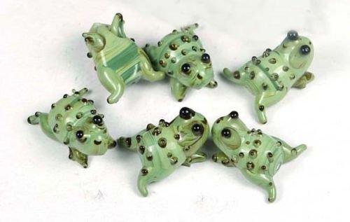 6 Lampwork Handmade Glass Green Jumping Frog Beads 22x12mm