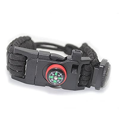 OmeGod Adjustable Bracelet, 7-Strand 550 Paracord Bracelet with Fire-Starter, Scraper, Whistle, Compass and Thermometer, Fit 7.87-9.85in Wrist, for Camping, Hiking and other Outdoor Activities (Black)