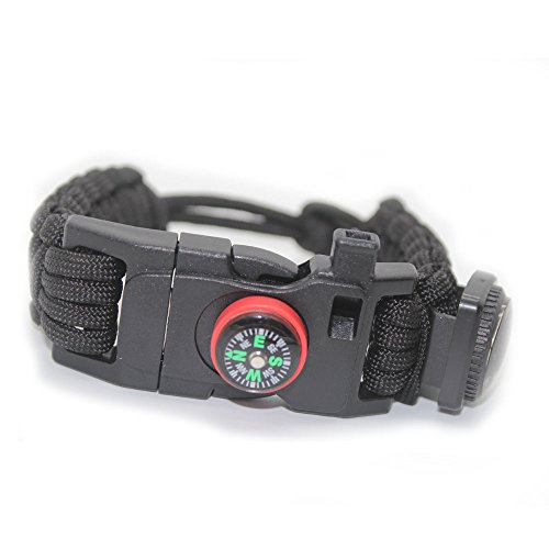 OmeGod Adjustable Bracelet, 7-Strand 550 Paracord Bracelet with Fire-Starter, Scraper, Whistle, Compass and Thermometer, Fit 7.87-9.85in Wrist, for Camping, Hiking and other Outdoor Activities ()