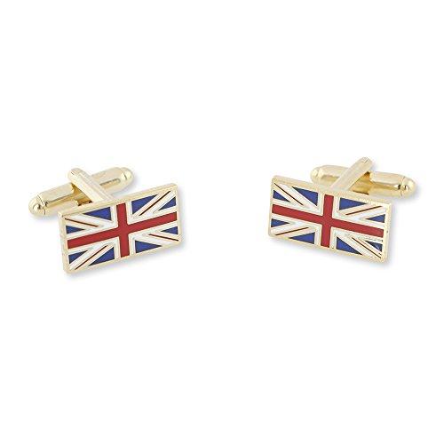 Forge United Kingdom UK (Union Jack) British Flag Enamel Tie Bar + Cufflinks - Gold & Silver Tone Available (Gold Cufflinks) - Silver Union Jack