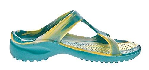 Damen Bade Pantolette Freizeit Latschen Sommer Schuhe EVA-Sohle Bandagen Gr. 37-42 Blau-Gelb