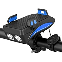LYDQ Fietslamp mobiele telefoonhouder, 4-in-1 fietstelefoonhouder, led-fietskoplamp, USB-lading, schat met claxon…