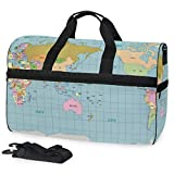 Mens Womens Duffle Bag A Pacific Centered World MAP Large Travel Weekender Swim Bags with Shoes Compartment