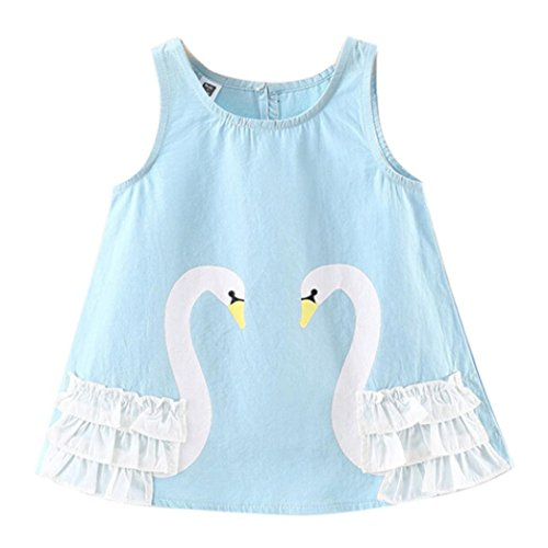 Price comparison product image FEITONG Toddler Baby Girls Sleeveless Swan Clothes Party Princess Dresses (Blue, 18-24M)