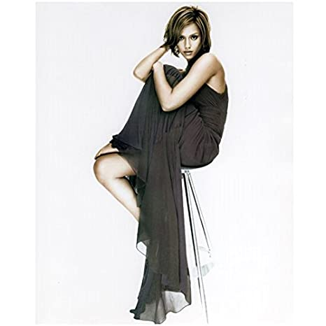 Jessica Alba 8 x 10 Photo Slinky Black Dress Flowy Sitting