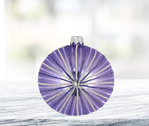 (GIFTS PLAZA (D) Lavender Stripe 4-pc Round Holiday Ornament Set, Handmade & Mouthblown Glass, Christmas Tree Decoration)