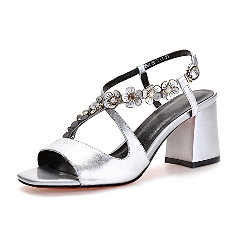 AJUNR Moda/elegante/Transpirable/Sandalias Zapatos de mujer Flores Cabeza cuadrada Talon La Silver 7cm tacones altos Treinta y nueve 36