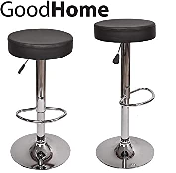 Tabouret De Bar Rond.Good Home Tabouret De Bar Rond Reglable En Hauteur Noir