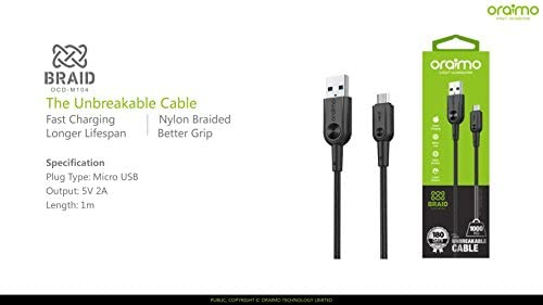 oraimo 1m Braid Micro USB cable: Amazon.co.uk: Electronics