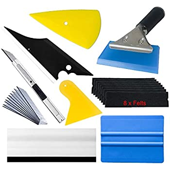 Window Tint Tools Vinyl Wrap Kit for Vehicle Film Including Felt Squeegee,Scraper,Knife Blade