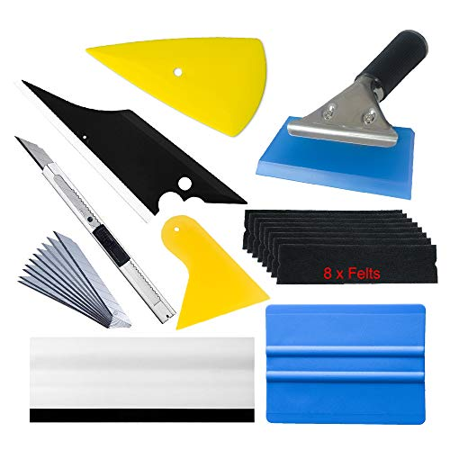 Window Tint Tools Vinyl Wrap Kit for Vehicle Film Including Felt Squeegee,Scraper,Knife Blade (Tint Window Automotive)