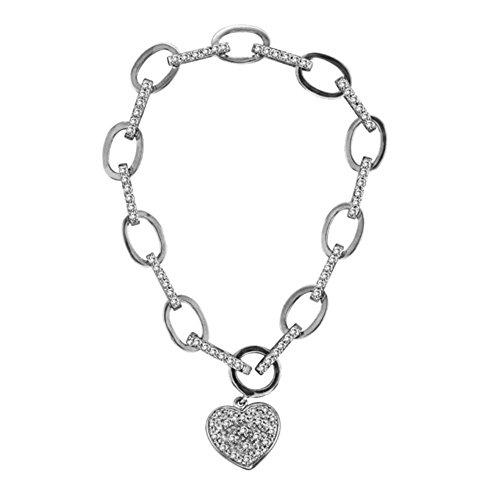 Rylos Diamond Tennis Bracelet Classic 14K White Gold Tiffany Style Heart