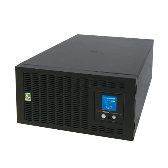 CyberPower PR5000LCDRTXL5UTAA Smart App Sinewave UPS System, 5000VA/4000W, 5 Outlets, AVR, Rack/Tower, TAA Certified 1 5000VA / 4000W Pure Sine Wave UPS - Pure Sine Wave UPS - designed to support Active PFC power supplies and conventional power supplies Line-Interactive Topology. Full AVR Buck/Boost & GreenPower UPS 5U Rack Mount/Tower convertible. Multi-function rotatable LCD display