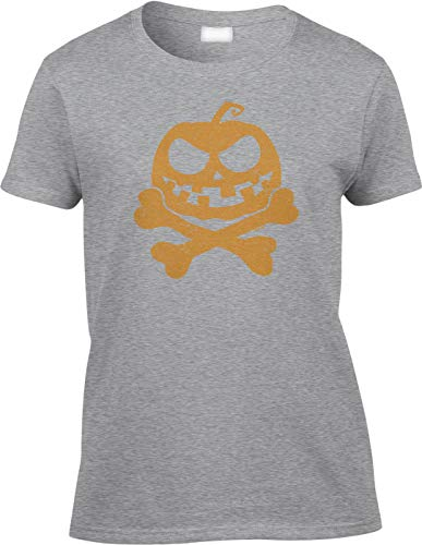 Blittzen Womens/Ladies Jack-o-Lantern Pumpkin Crossbones, 2XL, Light -