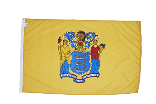 Missouri Jersey Material - Allied Flag - 2' x 3' Outdoor Nylon New Jersey State Flag - Made in USA - Vivid Color and Fade Resistant - Reinforced Hem and Brass Grommets