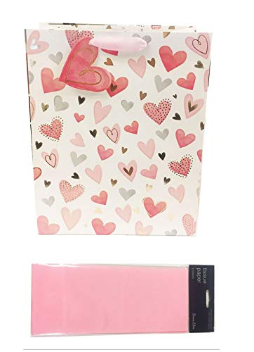 Valentines Gift Bag Tissue Paper Large Pink Love Hearts Wrap Ladies Her Girl Tag